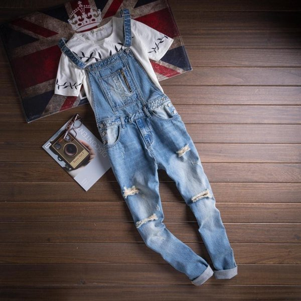 S-3XL Mens Overalls Suspender Denim Jeans Trousers Jumpsuit Ripped Pants Slim Fit Plus Size