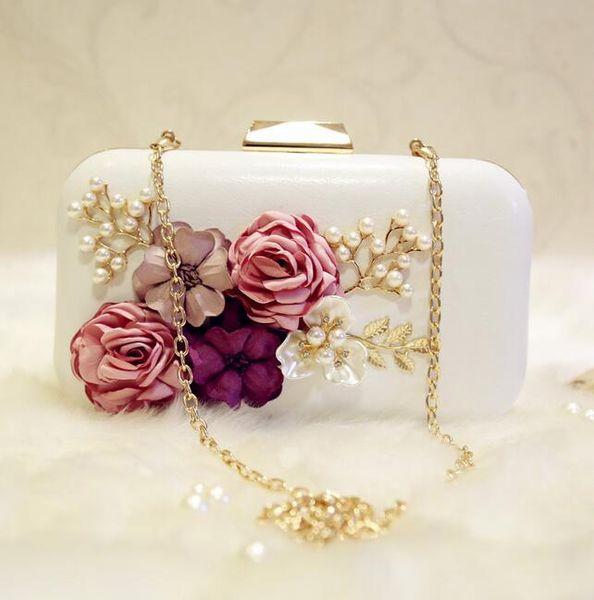 sales fashion brand pearl flower woman Yanbao wedding dress three-dimensional flower hand bag Lovely Ladies Diamond Flower Chain hand bag