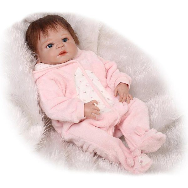 Wholesale- 23 Inch Realistic Reborn Baby Doll Full Body Silicone Vinyl Boy Babies Dolls That Look Real Kids Birthday Gift