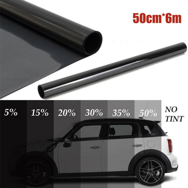 free shipping yentl wholesales 50cm x 6M Black Glass Window Tint Shade Film VLT 1%-50% Auto Car House Roll PLY Auto Glass Solar Protection