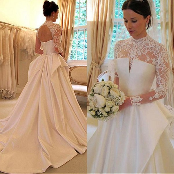 2018 Stunning Long Sleeve Wedding Dresses Sheer Lace High Neck Open Back Zipper up Taffeta High Quality A-line Bridal Gowns with Train