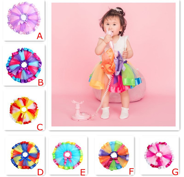 0-10Y INS Girls Rainbow Tutu Dresses skirts New Kids Newborn Lace Princess Skirt Pettiskirt Ruffle Ballet Dancewear Skirt Holloween Clothing
