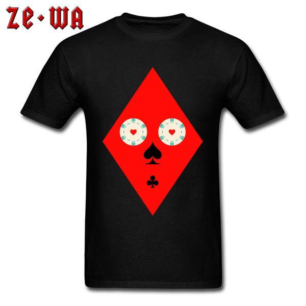 Pôquer engraçado Rosto T Shirt Homens Preto Vermelho Camisetas Verão Outono Camiseta Algodão Top Tee Shirts Geométrica Coringa Roupas Por Atacado