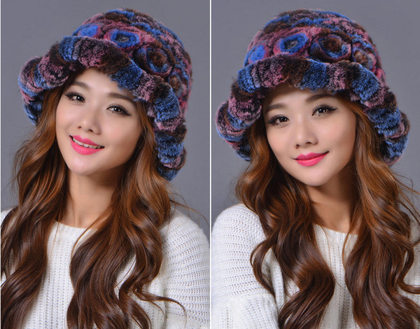 Wholesale Autumn and Winter Hats for Female Rex Rabbit Fur Flower Knitted Caps Elegant Beanies Paisley Pattern Fur Caps