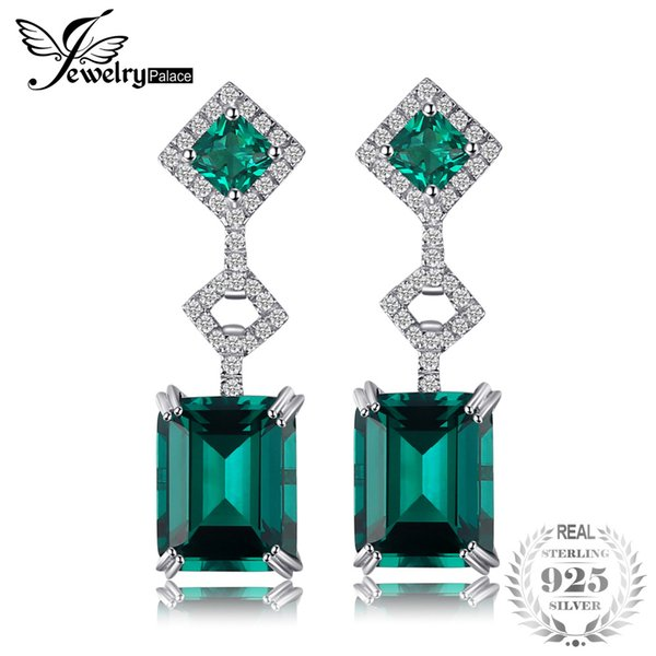 JewelryPalace Elegante 6,3 ct Nano russo simulato orecchini a goccia smeraldo moda gioielli 100% argento 925 regalo d'epoca