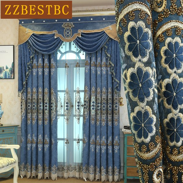 Top European brown luxury villa embroidered blackout Curtains for living room classic Voile Curtain for Bedroom Window Treatment