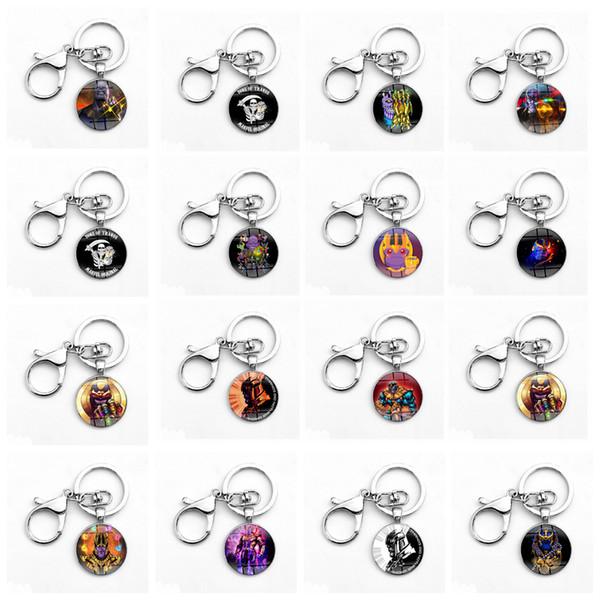 Avengers 3 Infinity War Keychain Thanos Infinite Iron Man Time Gemstone Alloy Glass Key Chain Toys Novelty Items 400pcs OOA5039