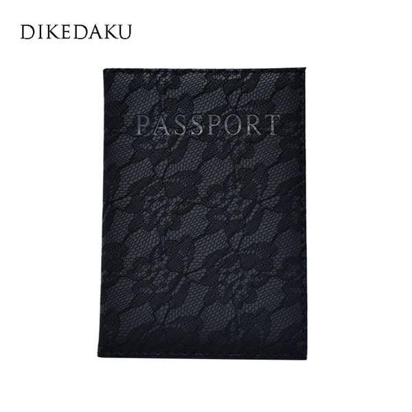 DIKEDAKU Lace Floral Women Passport Cover Pink Fashion Travel Passport Holder Brand Designer Soft Leather Case for Lady