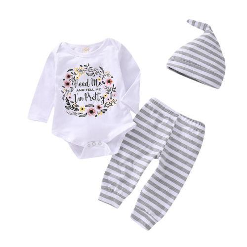 Casual Recém-nascido Crianças Baby Girl Floral Branco Manga Longa de Algodão Tops Romper Calças Leggings 3 Pcs Outfits Roupas