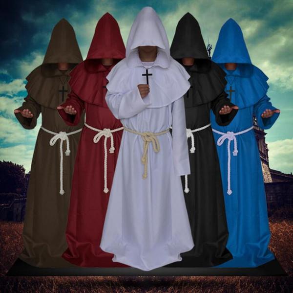 Vestito di Cosplay di costume di tema di costume di mago di Halloween Medieval Monks Suit uomini donne divertenti vestiti spedizione gratuita