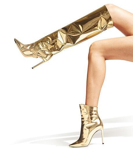 Caída nuevas mujeres dorado negro 2 maneras extraíble más tamaño punta estrecha botón Zip Tacón de aguja rodilla corta tobillo alto delgado botas largas
