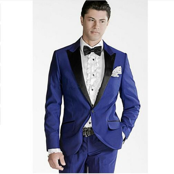 Royal Blue Groom men Suits Wedding Tuxedo Black Collar Best Slim Fit Mens Wedding Suit Formal Prom Wear (Jacket+Pants)