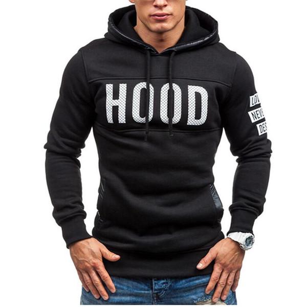 Carta Hoodies Homens Sudaderas Hombre Hip Hop Mens Carta de Marca Com Capuz Zipper Moletom Com Capuz Camisola Slim Fit Homens XXXL