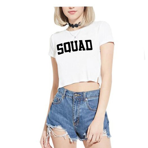 Fashion Crop Top Women Friends Squad Letter Printed Funny Summer Sexy Short Sleeve Streetwear T Shirt Cropped Kawaii Female