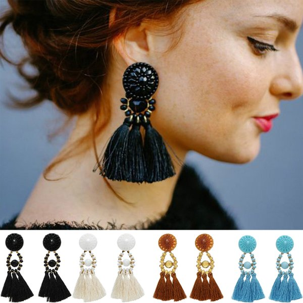M MISM Women Girls Bead Brincos Drop Earring Boho Dangle Earring Vintage Tassel Fringe Brincos Ethnic Statement Fashion Jewelry