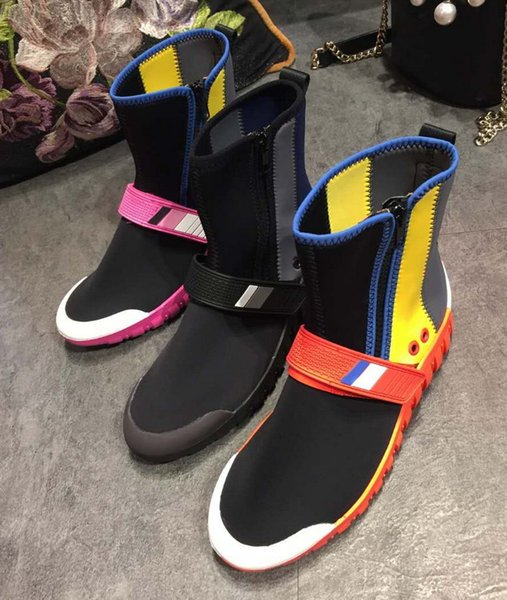 European 2017 Autumn Winter Leisure Flat Short Boots Fashion Sport Femal Stretch Boots Round Toes Mixed Colors Ankle Boots