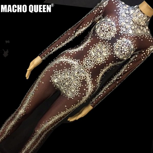 Drag Queen Costumes Sparkly Rhinestone Bodysuit Crystal Jumpsuit Carnival Cotumes Runway Performance Party Celebrity Clothing
