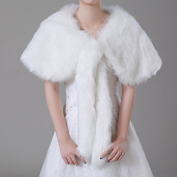 Cheap Bridal Wraps Fake Faux Fur Hollywood Glamour Wedding Jackets Street Style Fashion Cover up Cape Stole Coat Shrug Shawl Bolero CPA1497