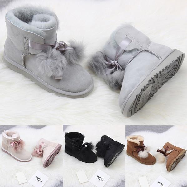Moda Yeni WGG kadın Avustralya Klasik uzun Çizmeler Kadın kız çizmeler Boot Kar Kış siyah mavi Papyon çizmeler deri ayakkabı boyutu 36-41
