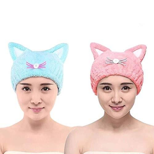 Cute Hair Drying Towel Cap Ultra Soft Water Absorbent Hair Wrap Hat for Women Adult and Child