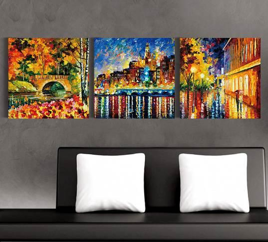 Home decor paris street scene oil painting modern canvas paintings images free shipping