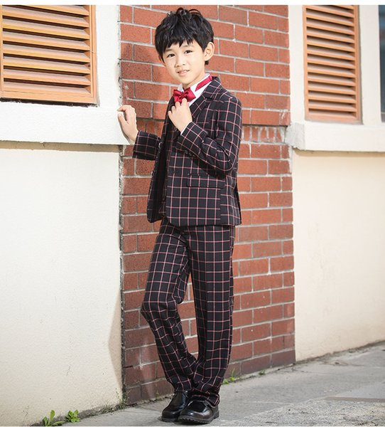 2019 Korean Style Kids Clothing Set Boys Tuxedos Five-Pieces (Blazer +Pant+Vest+Shirt+Bow Tie) Tuxedos Suitable For 100-150 CM Boys