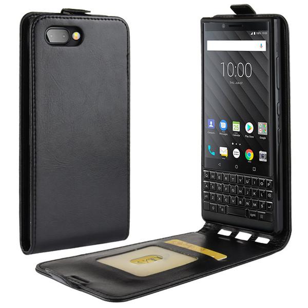Retro Case für Blackberry Key 2, TPU Soft Case + PU-Leder auf und ab Case Cover für Blackberry Key 2