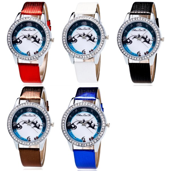 Christmas Cartoon Elk Pattern Number Scale Silver Alloy Dial Blue Leather 20mm Strap Children Student Sports Quartz Watch C109