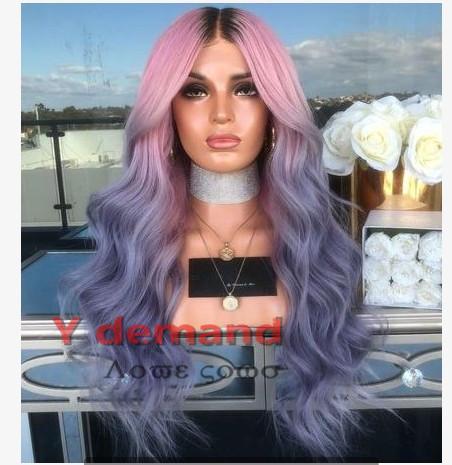 24 '' Uzun Dalgalı Peruk Saç Peruk Yok Dantel Saç Ombre Siyah Pembe Mor Kadınlar için Moda Isıya Dayanıklı Sentetik Saç Peruk