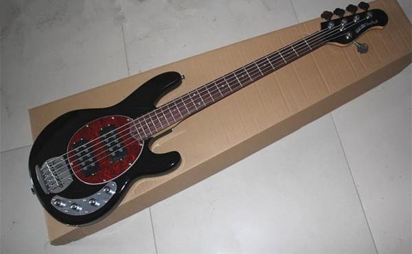 Top Quality 9V Active Pickup Black Music Man Ernie Ball Sting Ray 5 Strings Electric Bass Guitar Musicman Free Shipping