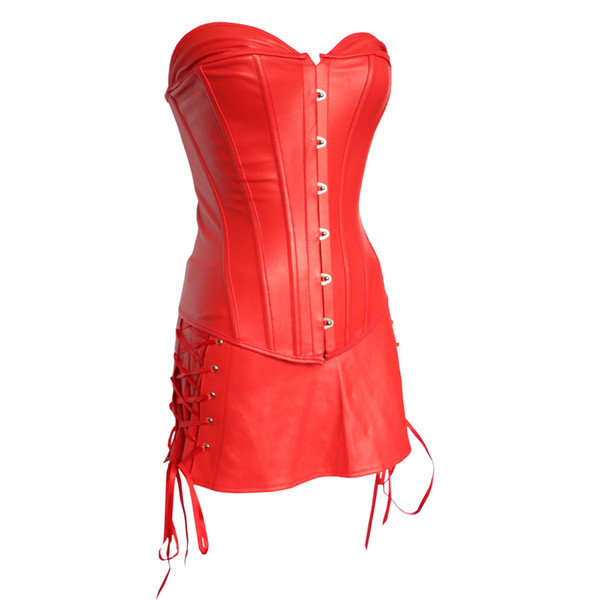 Red Plus Size Faux Leather Punk Court Corset with Skirt Sexy Underwear Lace-up Overbust Bustier Lingerie