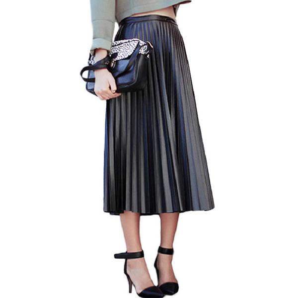 2017 neue Frühling Herbst Frauen Röcke Vintage Hohe Taille Schwarz Kunstleder Röcke Weibliche Dünne Partei Midi PU Faltenrock AB057