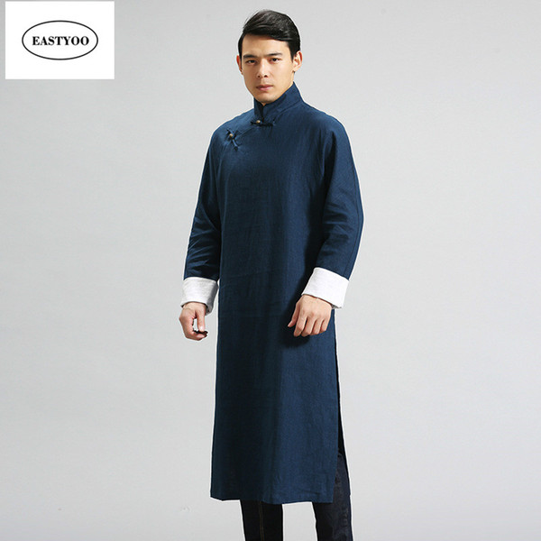 chinese linen dresses Promo Codes - Chinese Traditional Dress Men Mandarin  Collar Long Robes Plus Size fee7a57cc