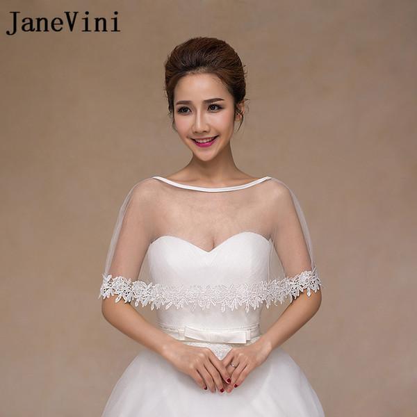 JaneVini Cheap Tulle White Lace Cloak Wedding Boleros De Novia Bridal Shawl Jacket Bolero Shrugs For Women Evening Party Cape Wraps Summer