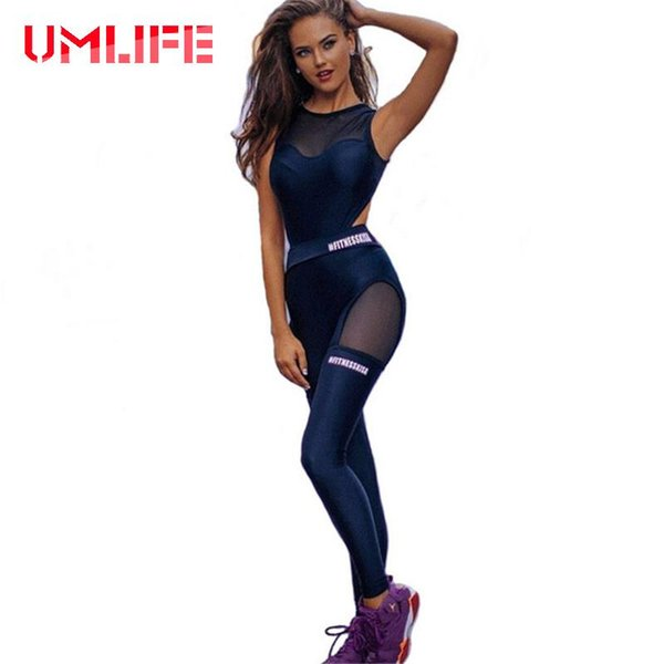 50e183044755 sportswear jumpsuits Promo Codes - Women Fitness Yoga Set Sexy Mesh  Patchwork Gym Running Jumpsuits Sportswear