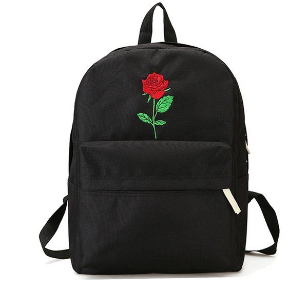 68c317ea88 Unisex Embroidery Flower Heart Canvas Backpack School Teenager Waterproof  Fashion Casual Travel Shoulder Bags For Couple