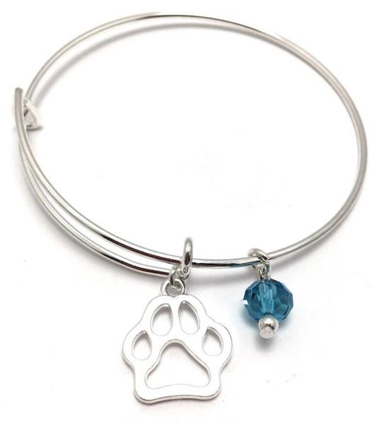 Vintage Silver Cat chien empreinte de patte Charmes Extensible Fil Bracelet Bracelets Pour Femmes Mode Bijoux Artisanat Bleu Cristal Réglable Bracelets