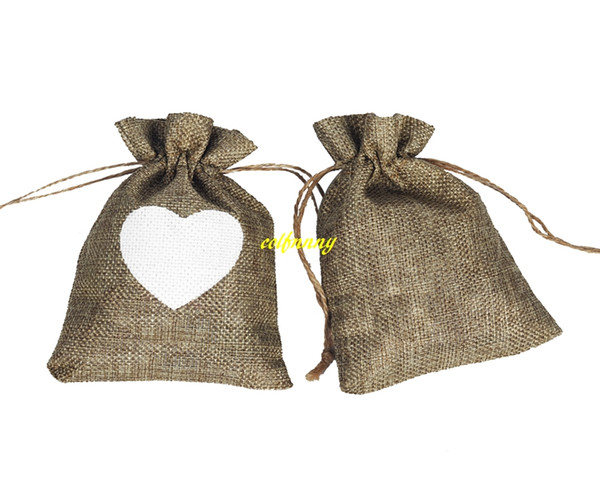 500pcs/lot Vintage Natural Burlap Gift Candy Bags Wedding Party Favor Gift Box Pouch Jute White Love Heart Gift Bag