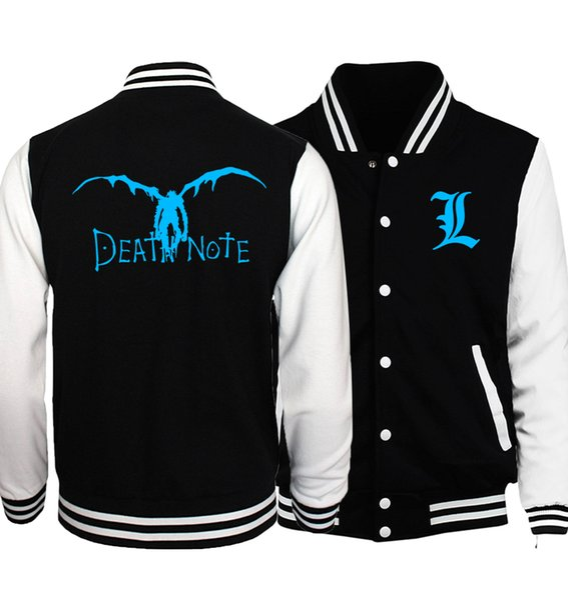 Death Note L unisex baseball jackets hot anime noctilucous print brand tracksuit 2017 spring autumn men women fitness sweatshirt