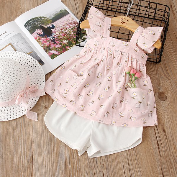 6357d3daa832 New Summer 3PCS Set Girls Clothes Kids Small Fresh Flowers Fly Sleeve  T-shirt+