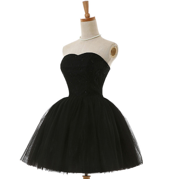 2017 Pretty Black Homecoming Dresses Sexy Sweetheart Neck Mini Tulle Short Beaded Bodice Short Party Prom Dresses Cocktail Dresses Under 100