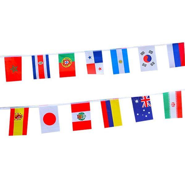 Russie Coupe Du Monde Drapeaux Suspendus 14 * 21cm Petit Monde Drapeaux Nationaux Ficelle 32 Comtés Drapeau Festival Fête Décoration Drapeau