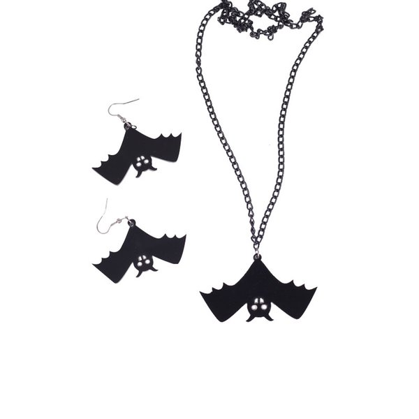 Black Bat Pendant Creative Heart PENDANT NECKLACE Shaped Pendant Necklace Earrings Jewelry Special Gift Free Shipping