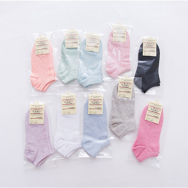 top popular Wholesale - 40pcs=20 pairs short opening women's sports socks pure color casual sock for women 10 colors free shipping 2021
