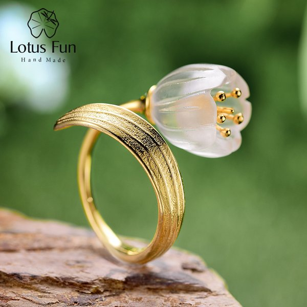 Lotus Fun Real 925 Sterling Silver Natural Crystal Handmade Fine Jewelry Lily of the Valley Flower Rings For Women S18101001