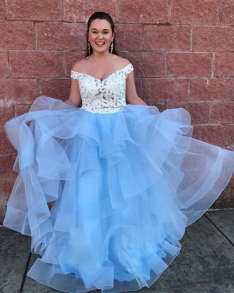 285e145c88 Baby Blue Ball Gown Prom Dresses Off Shoulder Appliques Lace Top Tiered  Organza Plus Size Prom Dresses Sweet 16 Dress Quinceanera Dress