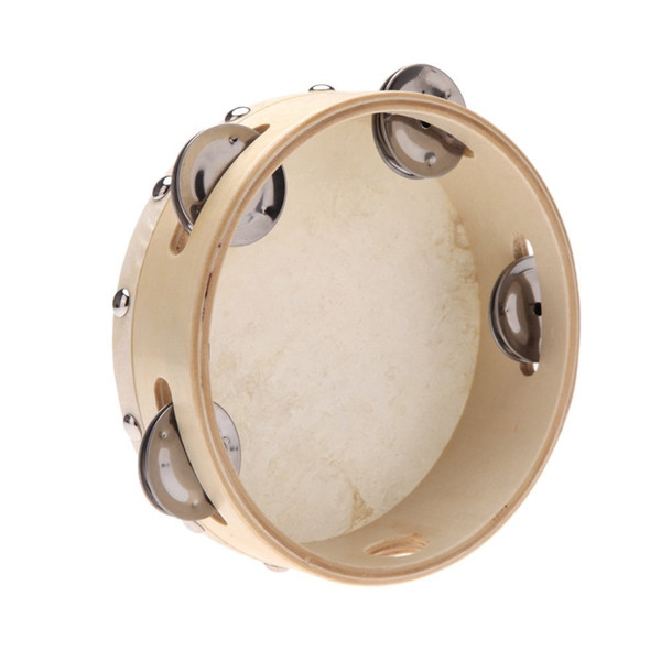 top popular 5 PCS of (6in Hand Held Tambourine Drum Bell Metal Jingles Percussion Musical Toy for KTV Party Kids Games) 2020