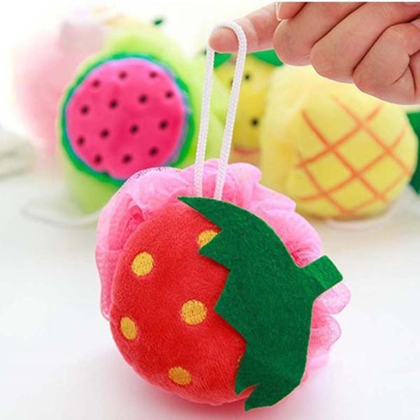 Neue reizende Süßigkeit-Farben-Frucht-Form-Bad-Ball-Badezimmer-Tuch-Blumen-Bad-Reibungs-Bürsten-Schwamm-Wäscher-waschender Ball
