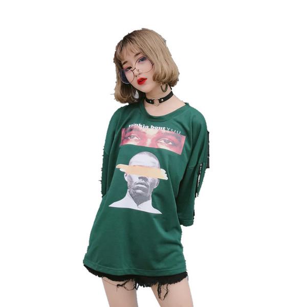 Halajuku Summer Oversize Loose Fashion Character Printed All Match Street Style Short Sleeve Female T-Shirts Free Size