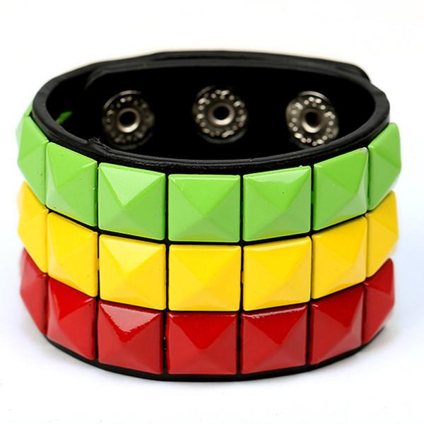 Punk multi-color square nail PU bracelet can mix color wholesale fashion Daren street beat imitation leather jewelry